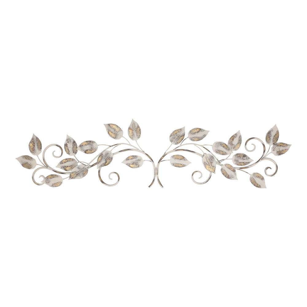 White and Bronze Metal Leaves Wall Décor - 380827. Picture 1