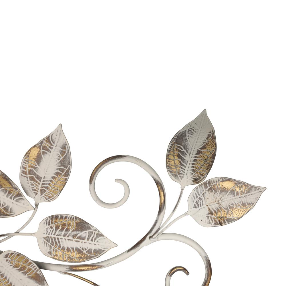 White and Bronze Metal Leaves Wall Décor - 380827. Picture 3
