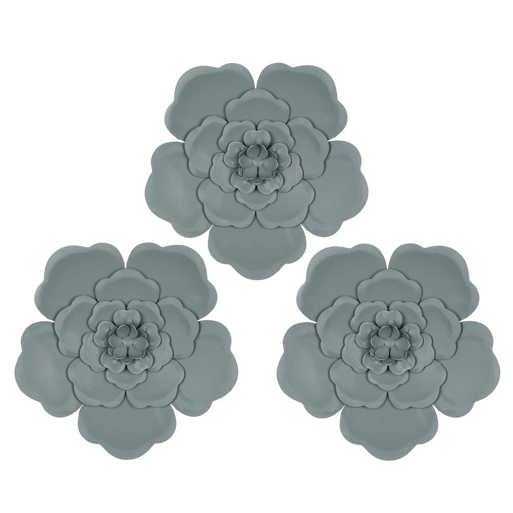 Set of 3 Blue Metal Flowers Wall Décor - 380828. Picture 1
