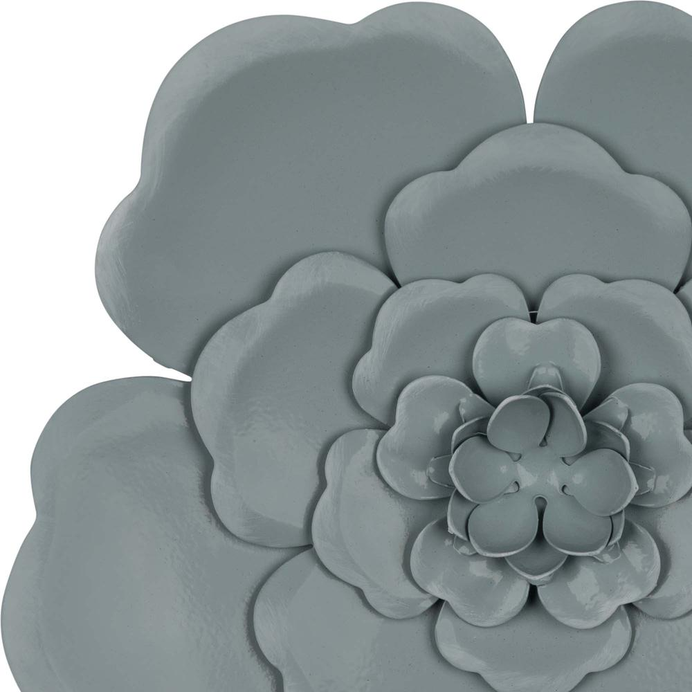 Set of 3 Blue Metal Flowers Wall Décor - 380828. Picture 3