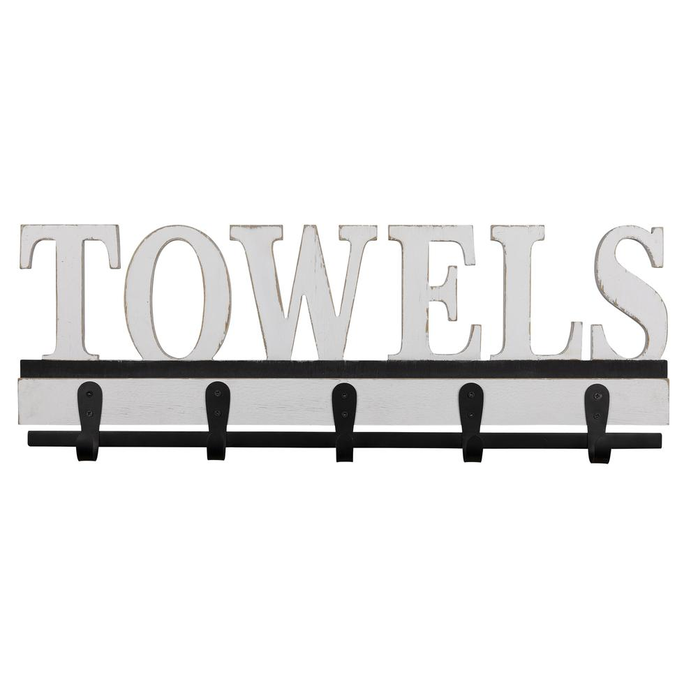 Distressed White Towels Wall Hooks - 380829. Picture 1