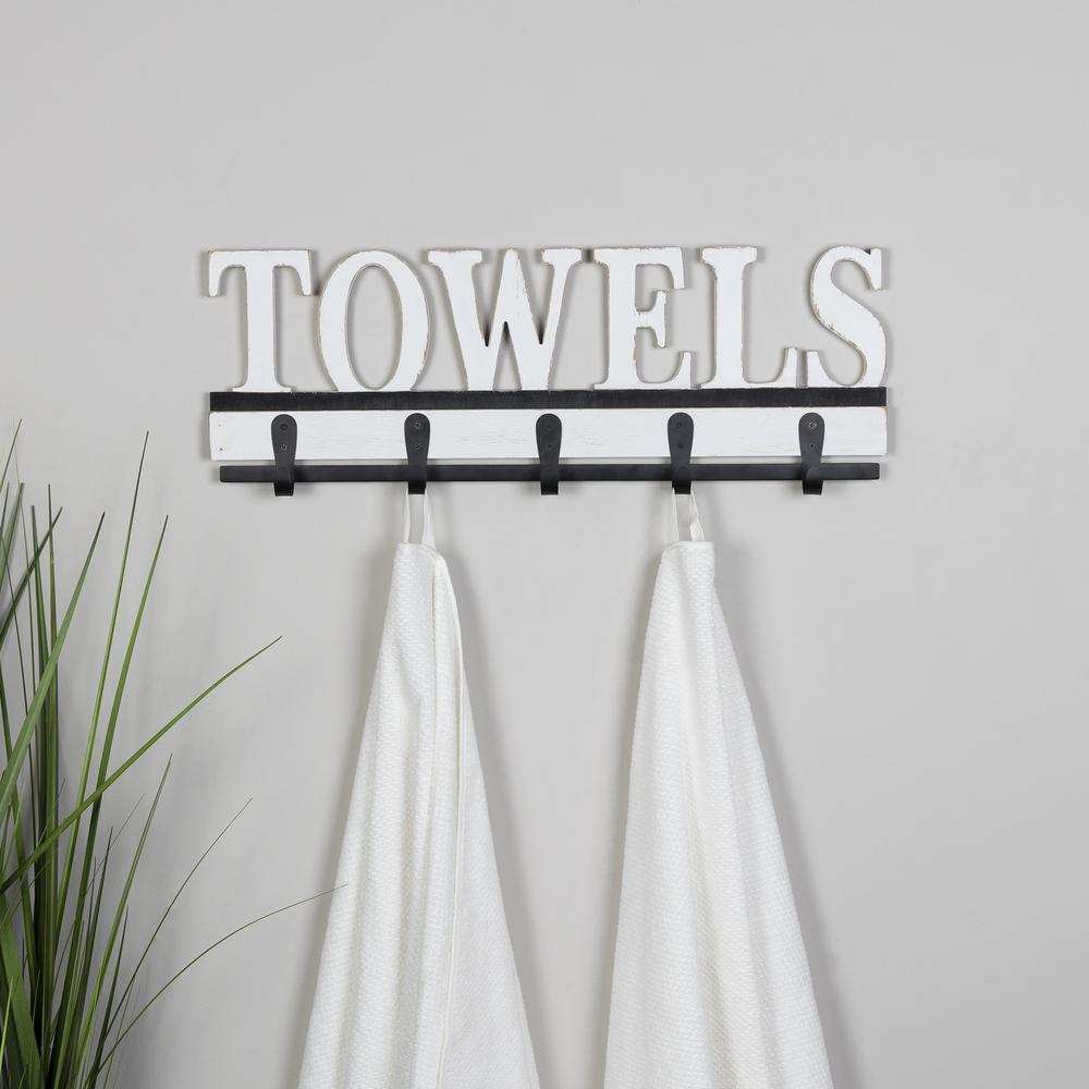 Distressed White Towels Wall Hooks - 380829. Picture 2