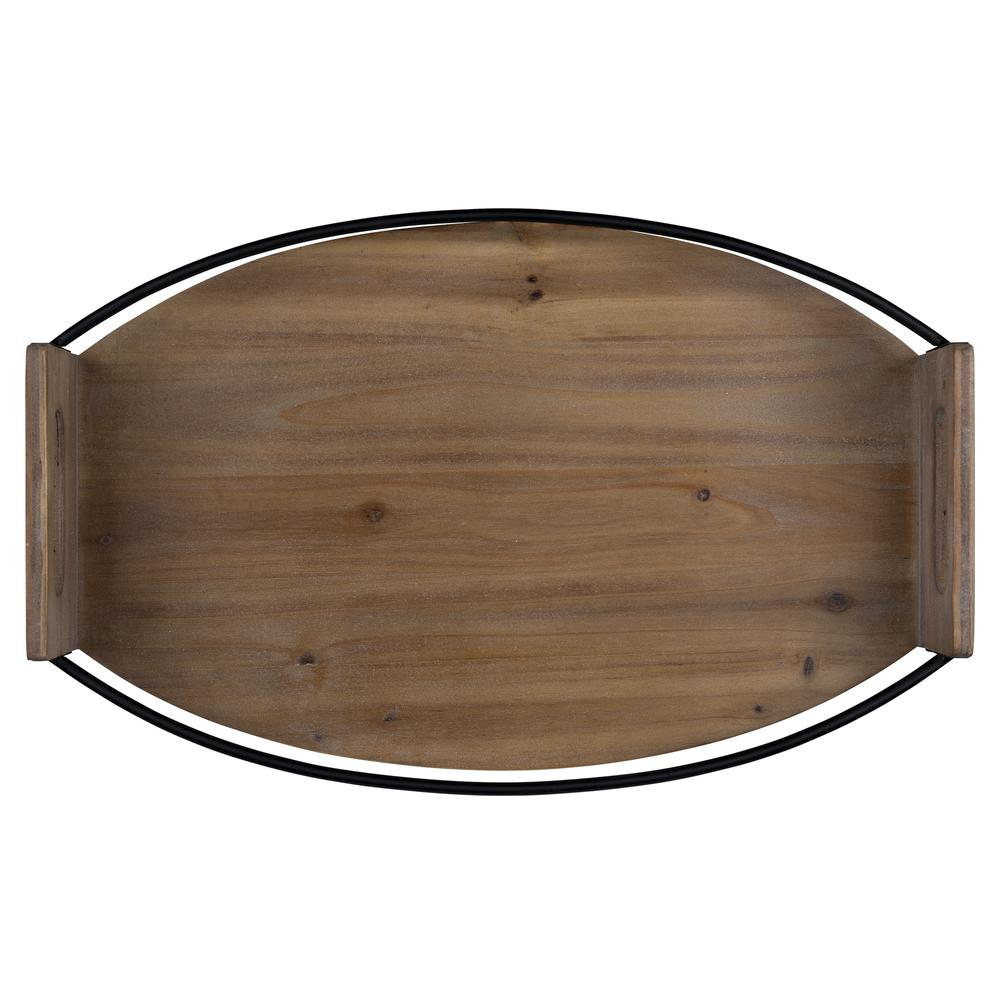 Rustic Brown Oval Wooden Tray - 380830. Picture 1