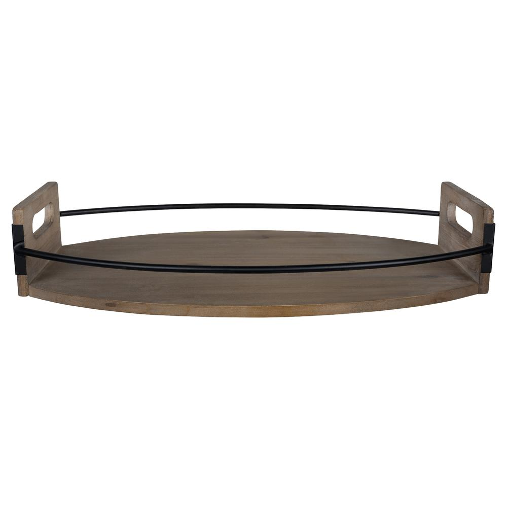 Rustic Brown Oval Wooden Tray - 380830. Picture 5