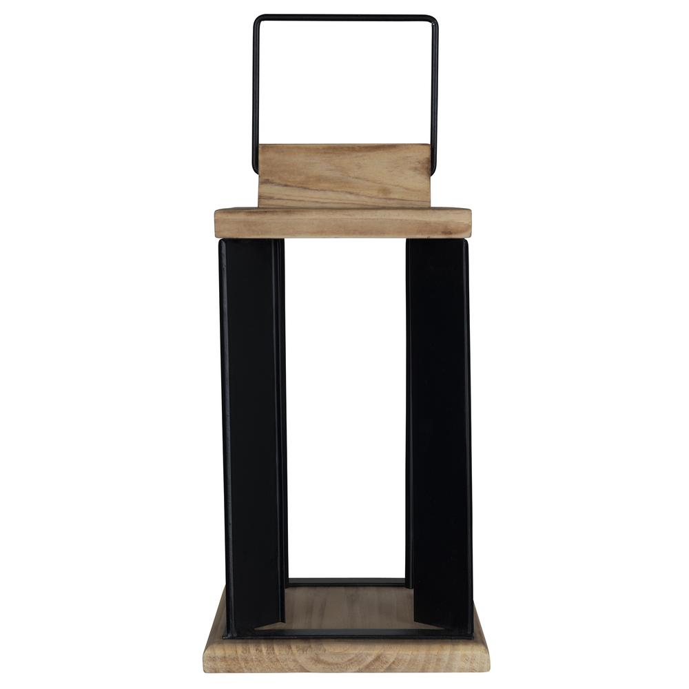 Natural Wood and Black Metal Open Lantern Decor - 380833. Picture 1