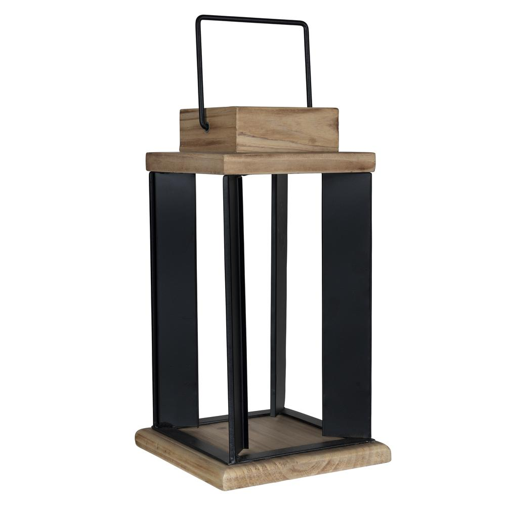 Natural Wood and Black Metal Open Lantern Decor - 380833. Picture 4