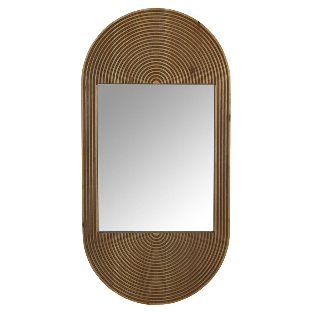 Brown Oval Wooden Wall Mirror - 380839. Picture 1