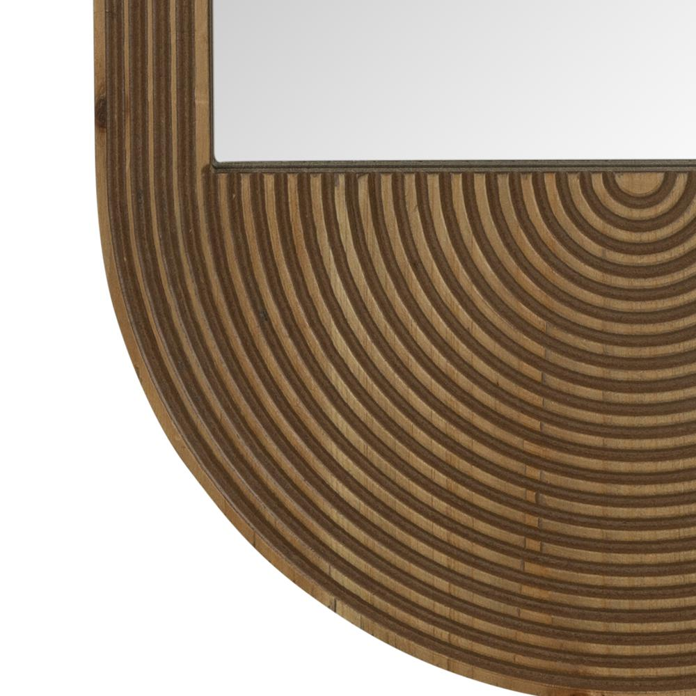 Brown Oval Wooden Wall Mirror - 380839. Picture 2