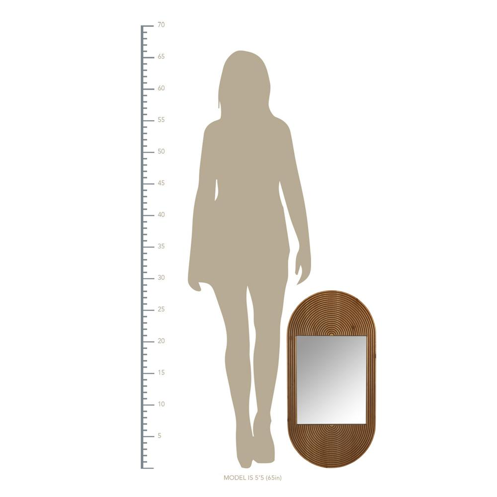 Brown Oval Wooden Wall Mirror - 380839. Picture 3
