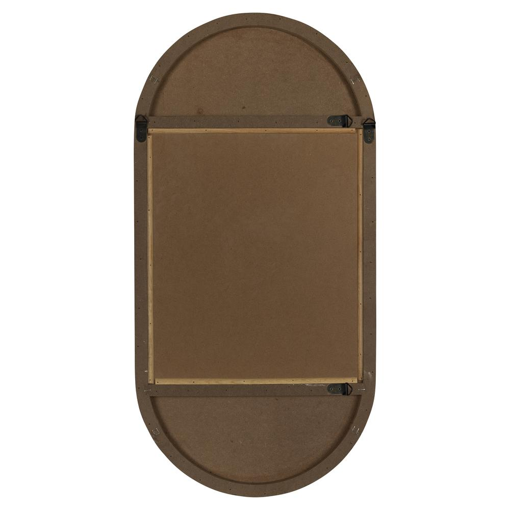 Brown Oval Wooden Wall Mirror - 380839. Picture 4