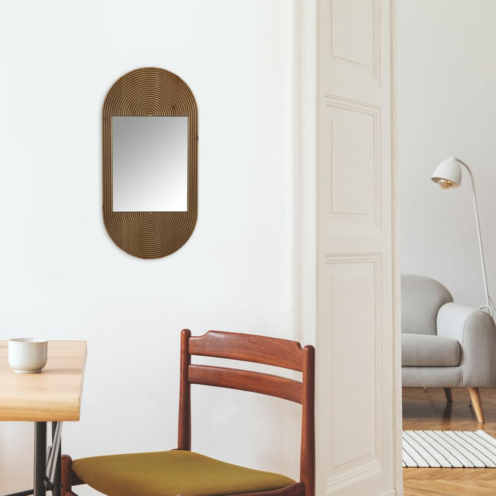 Brown Oval Wooden Wall Mirror - 380839. Picture 5