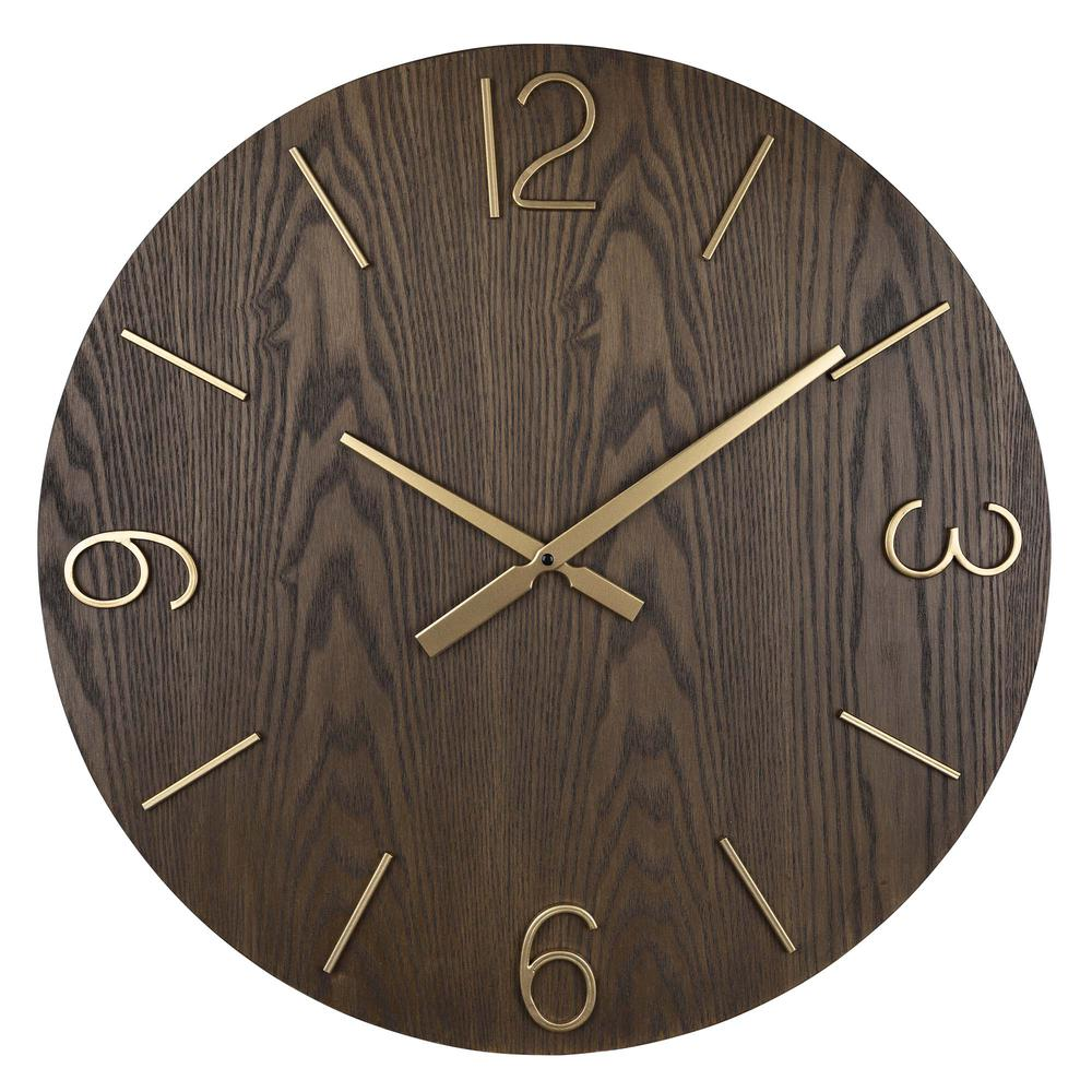 Classy Dark Stain Gold and Wood Wall Clock - 380841. Picture 1