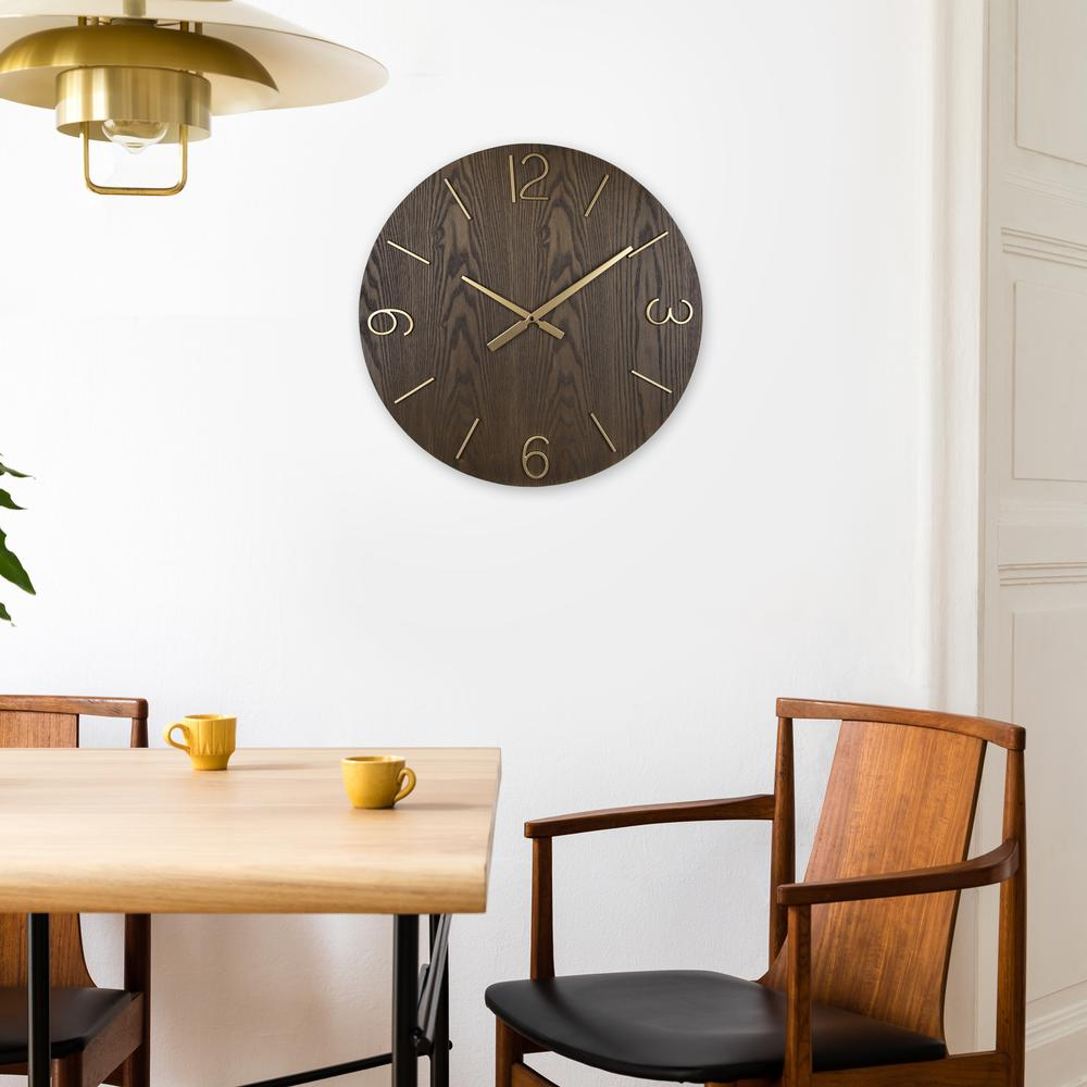 Classy Dark Stain Gold and Wood Wall Clock - 380841. Picture 2
