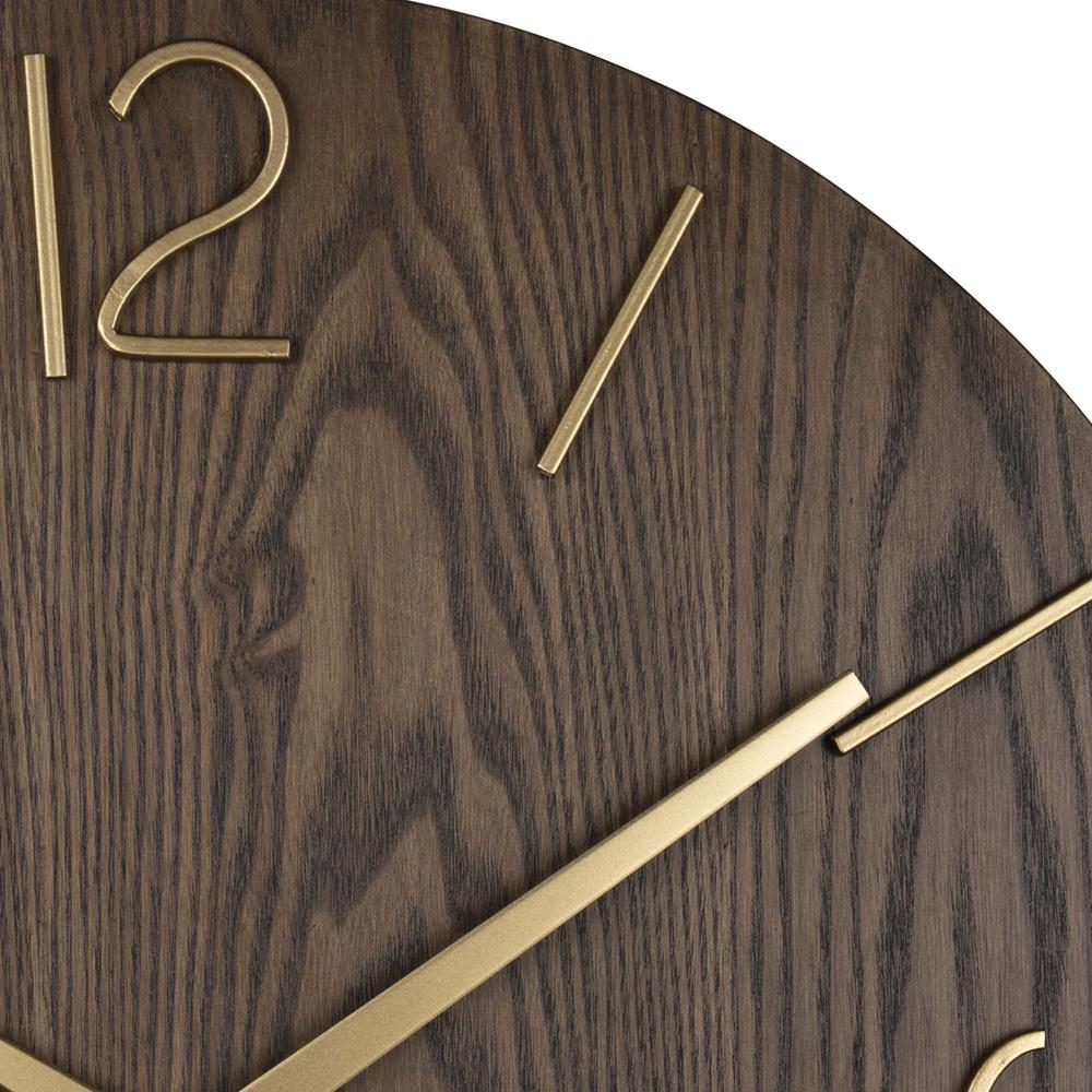 Classy Dark Stain Gold and Wood Wall Clock - 380841. Picture 3