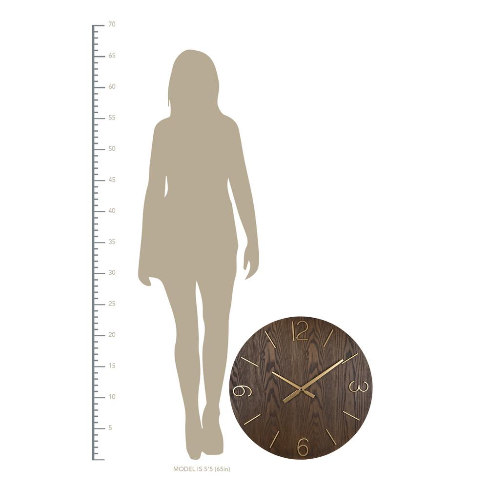 Classy Dark Stain Gold and Wood Wall Clock - 380841. Picture 4