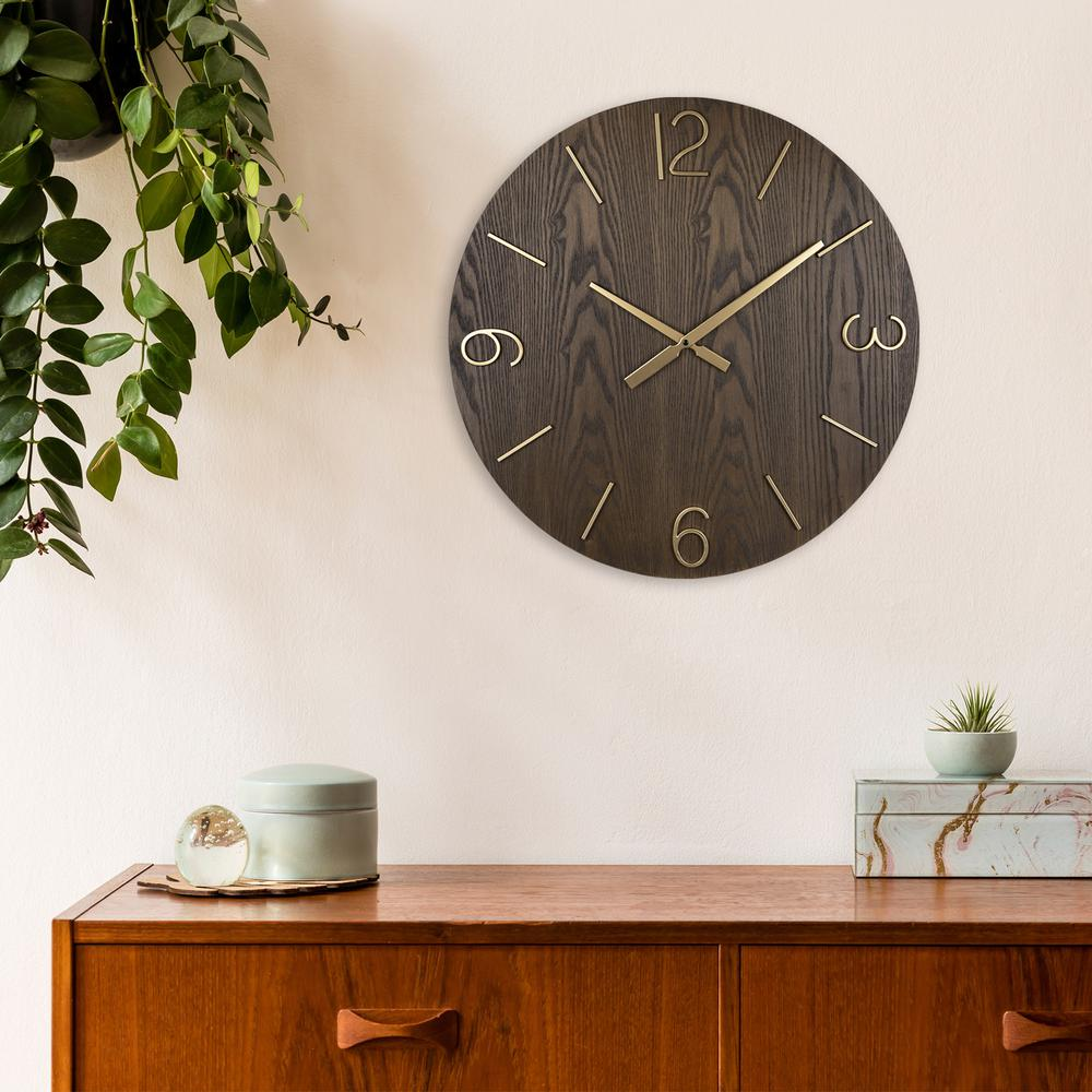 Classy Dark Stain Gold and Wood Wall Clock - 380841. Picture 6