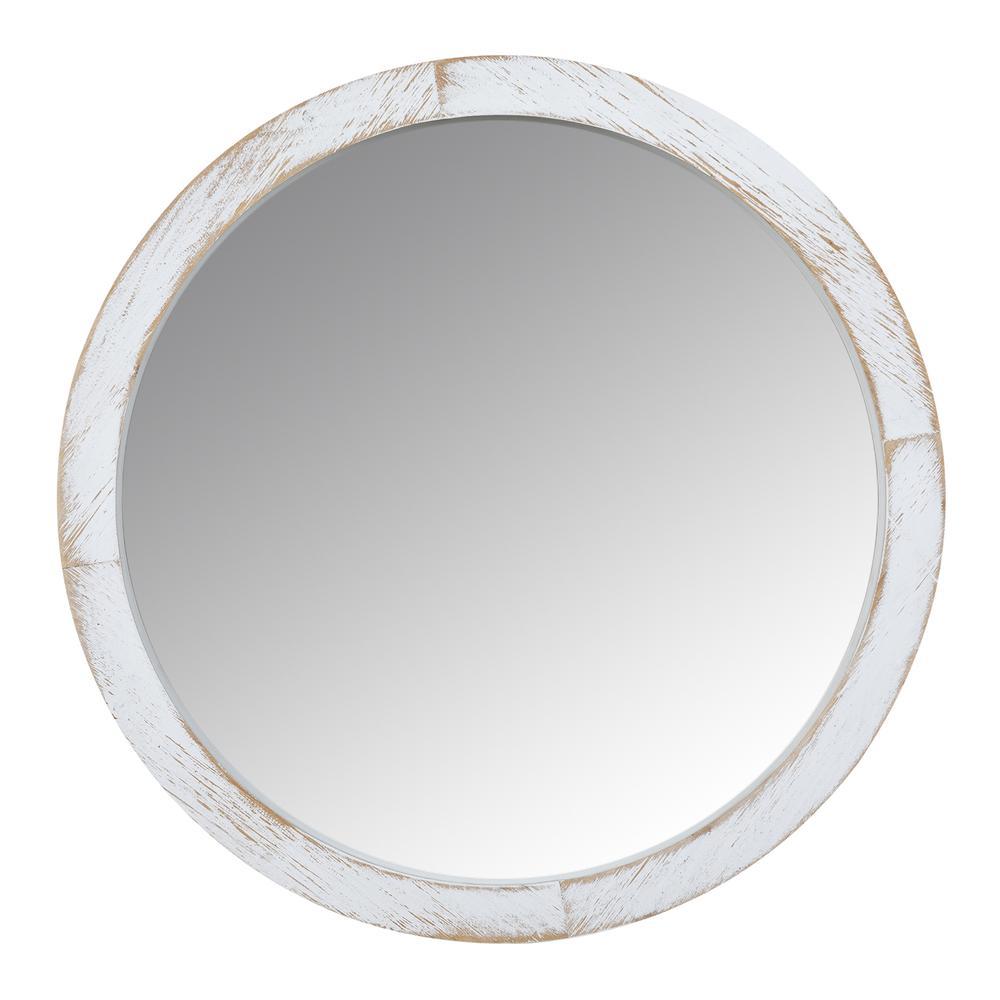 Modern Farmhouse Rustic White Wash Round Wall Mirror - 380845. Picture 1