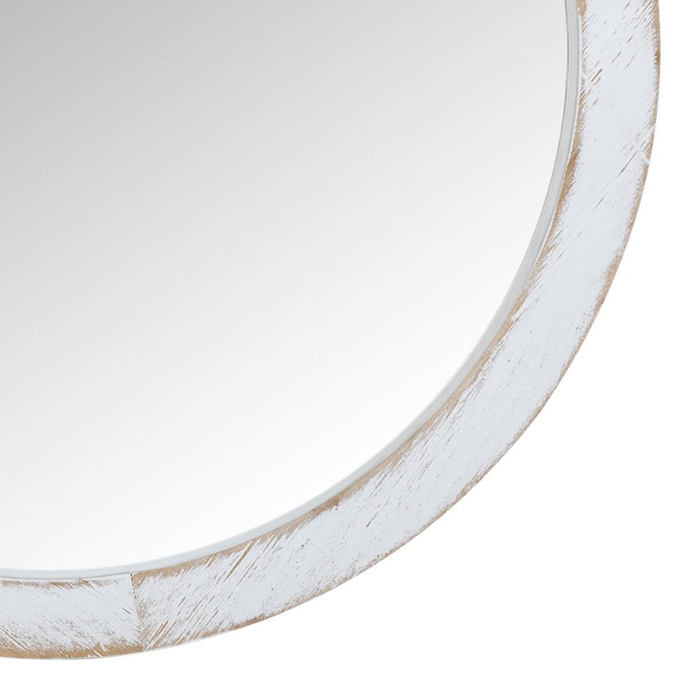 Modern Farmhouse Rustic White Wash Round Wall Mirror - 380845. Picture 2