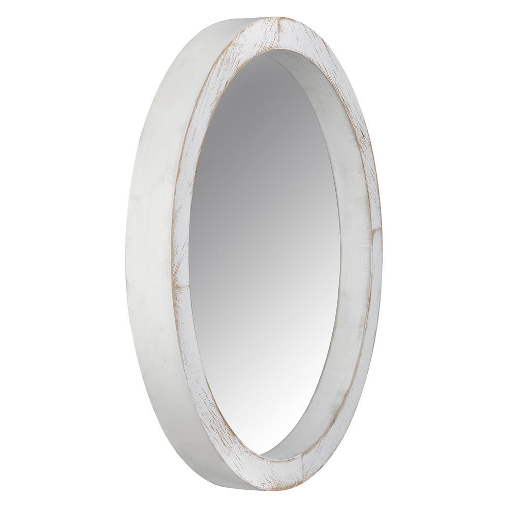 Modern Farmhouse Rustic White Wash Round Wall Mirror - 380845. Picture 5