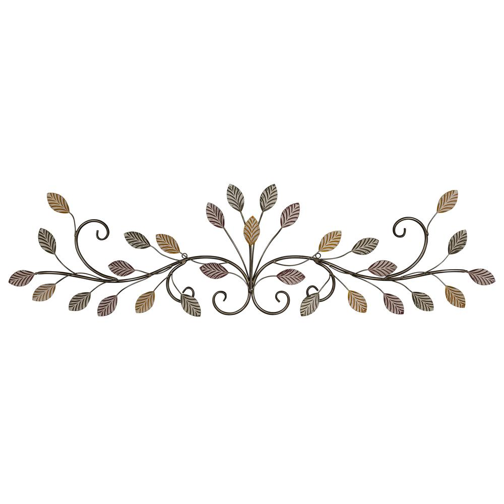 Warm Scrolling Metal Leaves Over Door Wall Decor - 380847. Picture 1