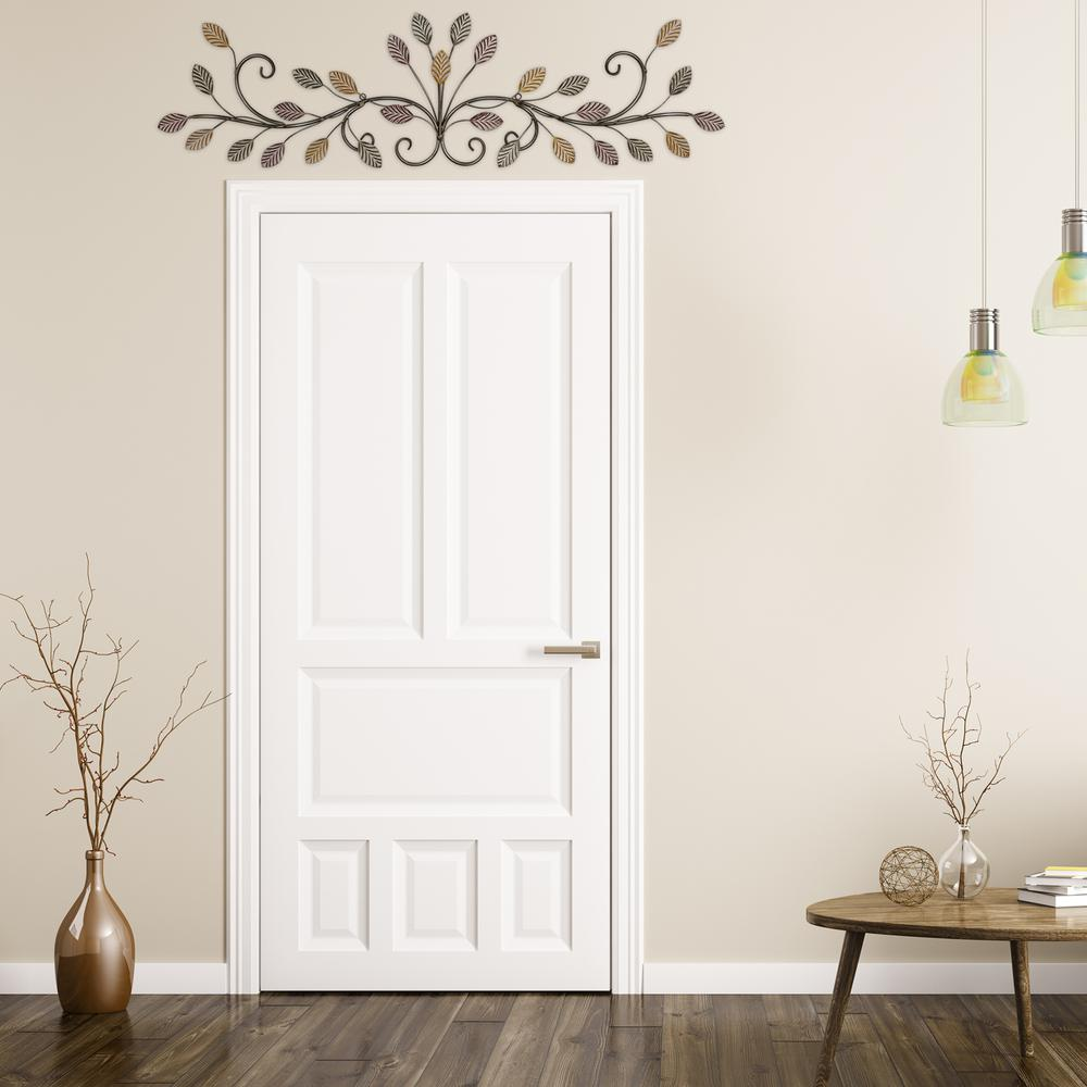 Warm Scrolling Metal Leaves Over Door Wall Decor - 380847. Picture 5