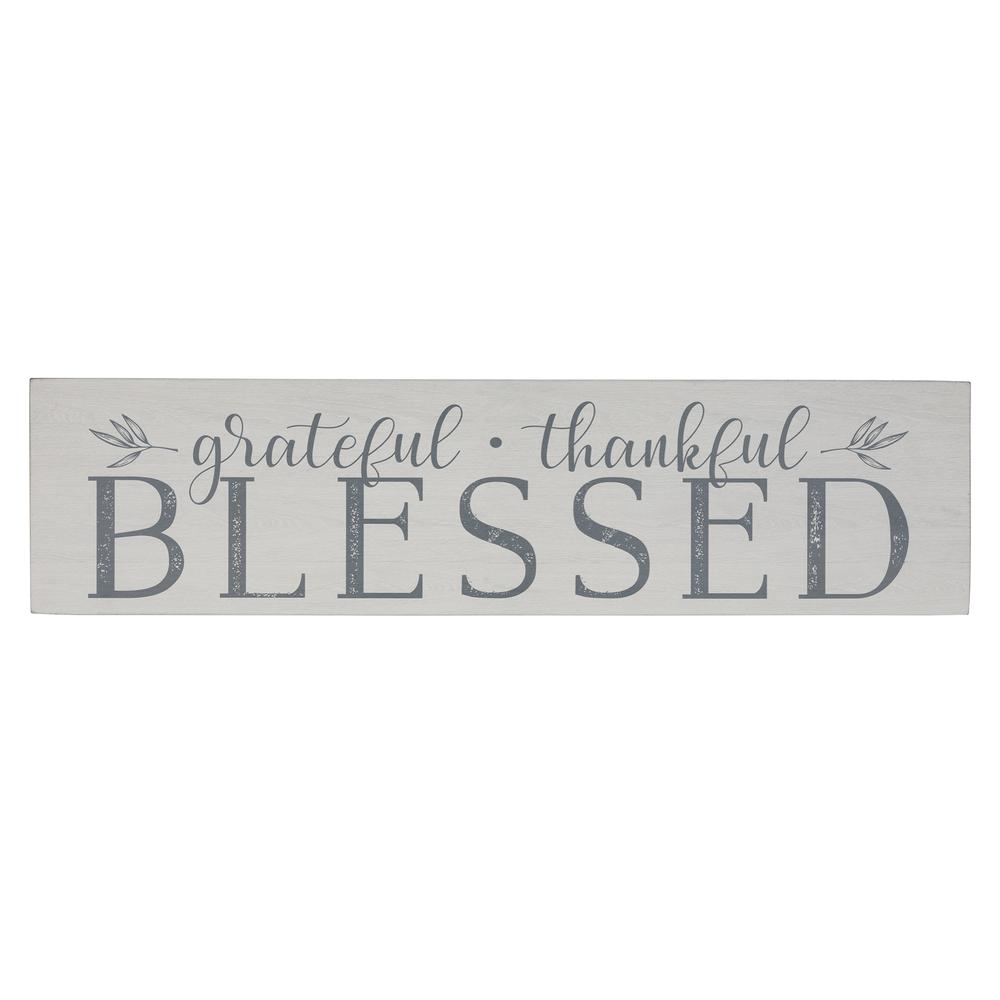 Gray and White Grateful Thankful Blessed Wall Art - 380849. Picture 1