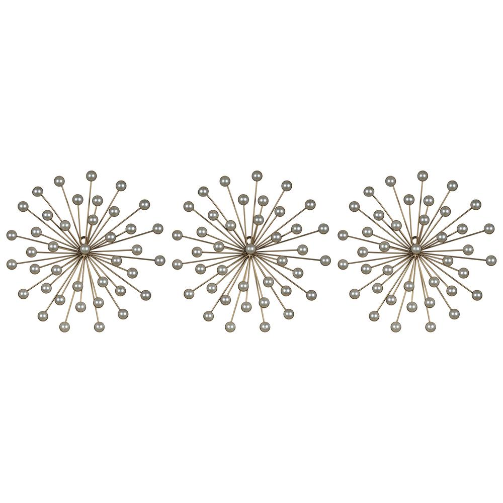 Set of 3 Pearl Starbursts Wall Décor - 380851. Picture 1