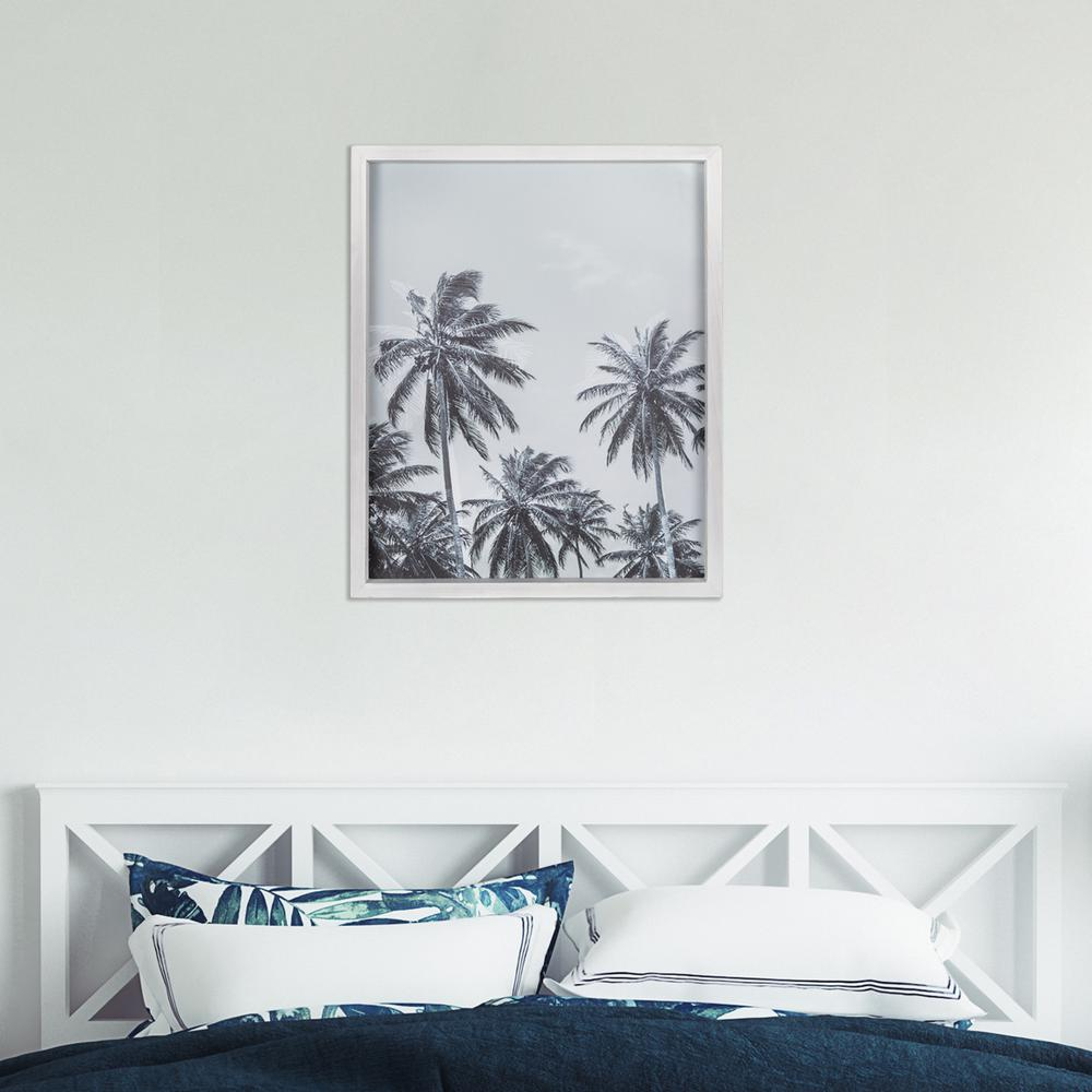 Multie Palm Trees White Wood Framed Wall Art - 380857. Picture 1