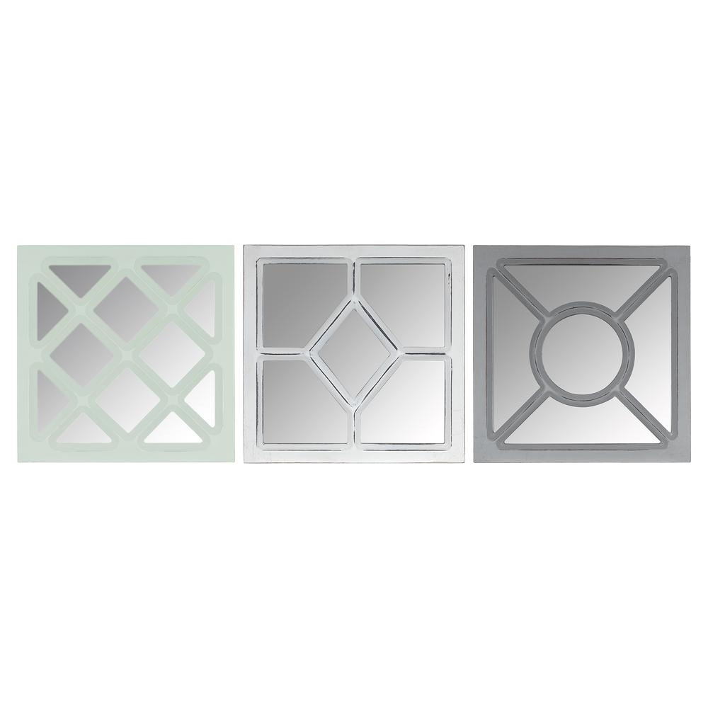 Set of 3 Geometric Wall Mirrors - 380868. Picture 1