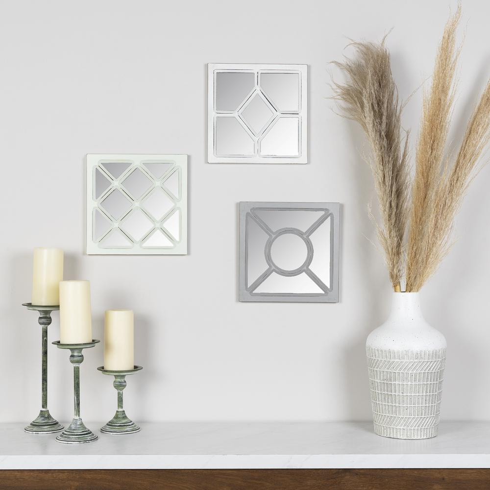 Set of 3 Geometric Wall Mirrors - 380868. Picture 2