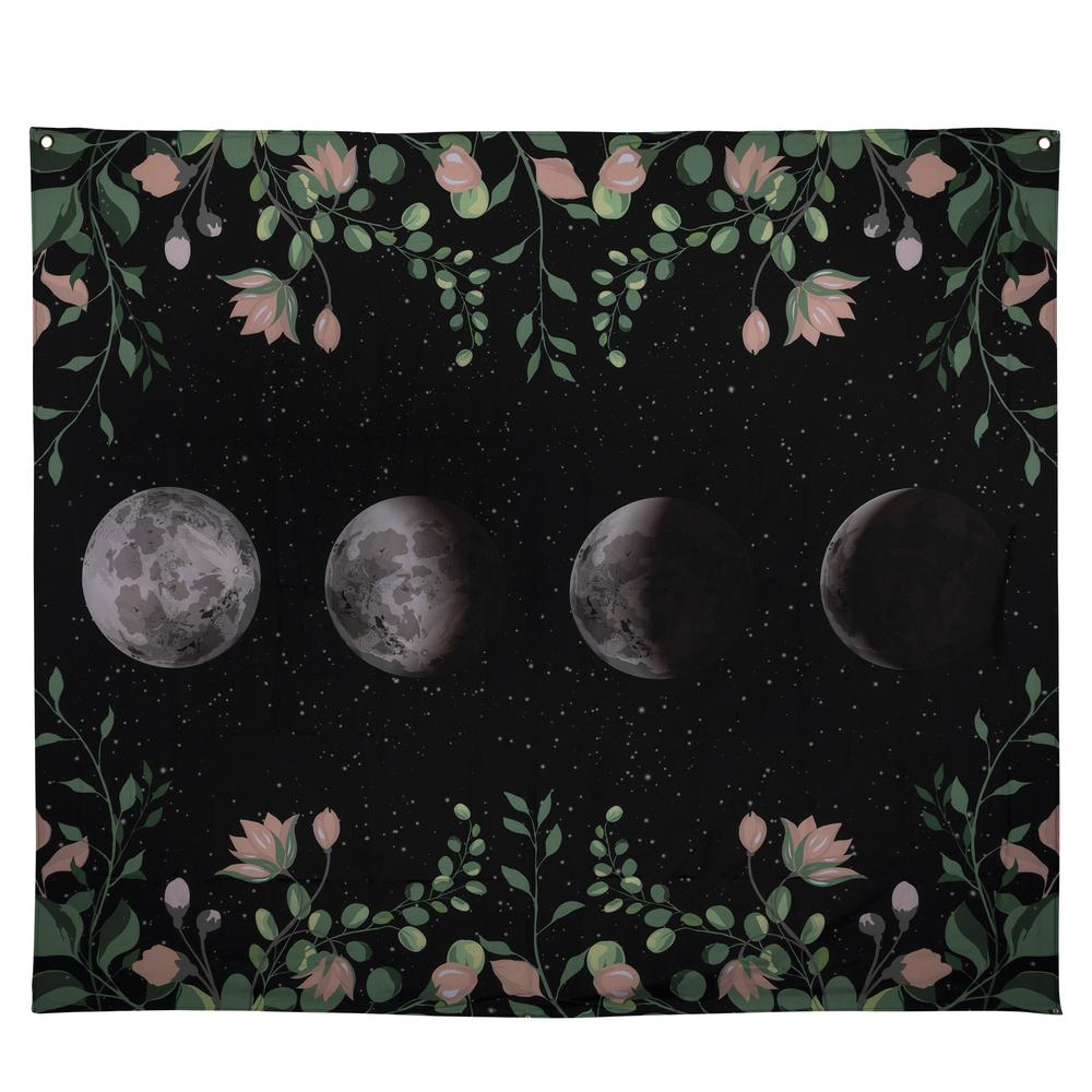 Moon Phases with Floral Border Black Wall Tapestry - 380877. Picture 1