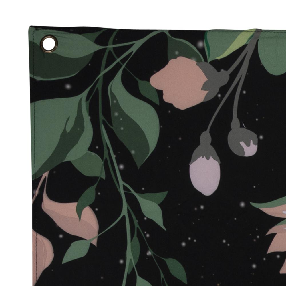 Moon Phases with Floral Border Black Wall Tapestry - 380877. Picture 2