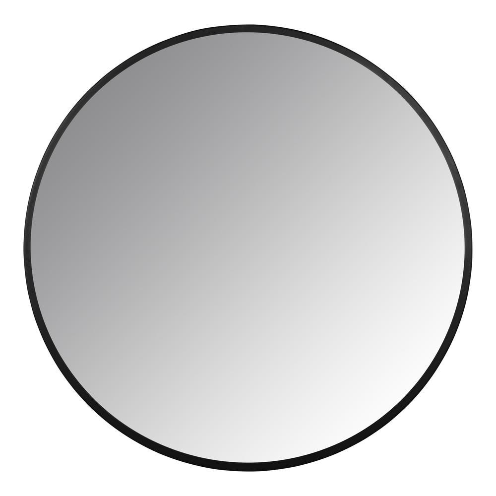 Minimalist Black Round Wall Mirror - 380884. Picture 1