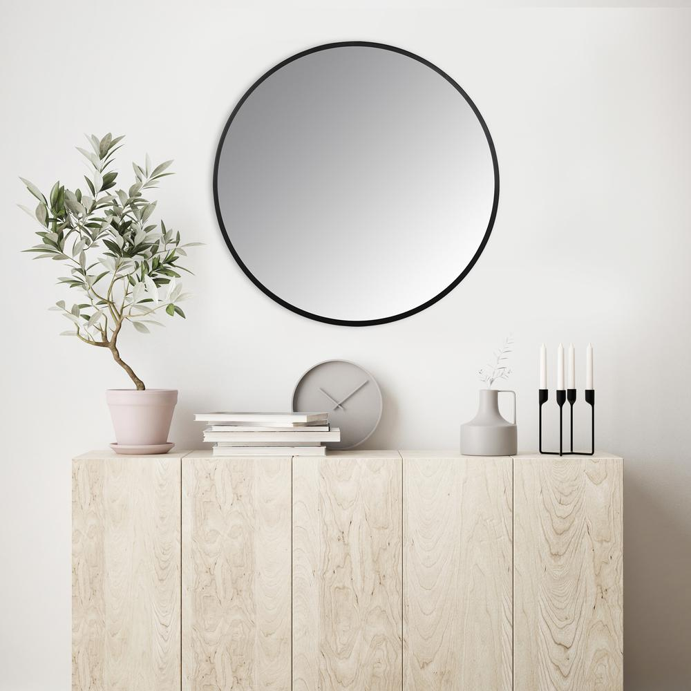 Minimalist Black Round Wall Mirror - 380884. Picture 2