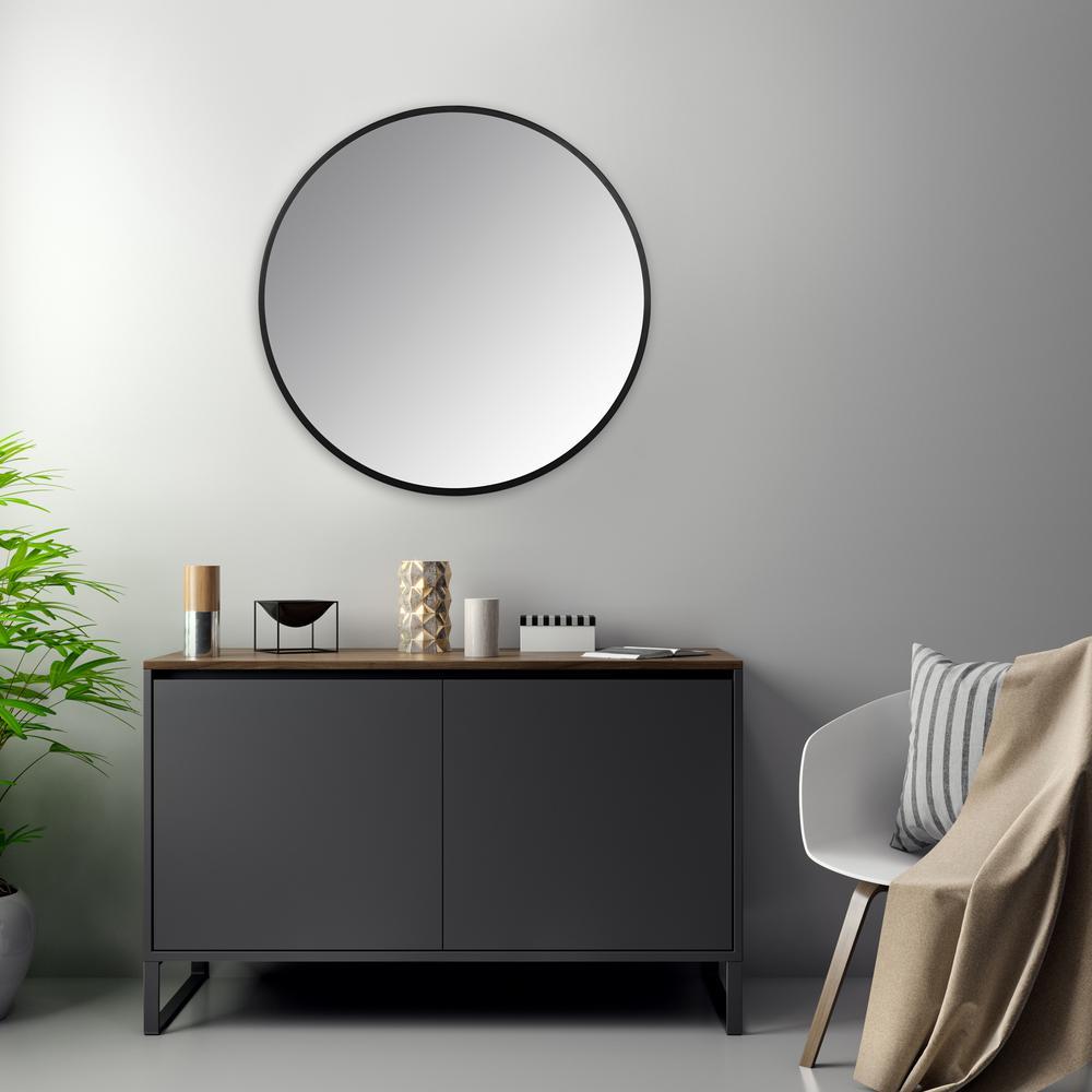 Minimalist Black Round Wall Mirror - 380884. Picture 6