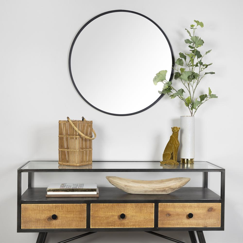 Minimalist Black Round Wall Mirror - 380884. Picture 7