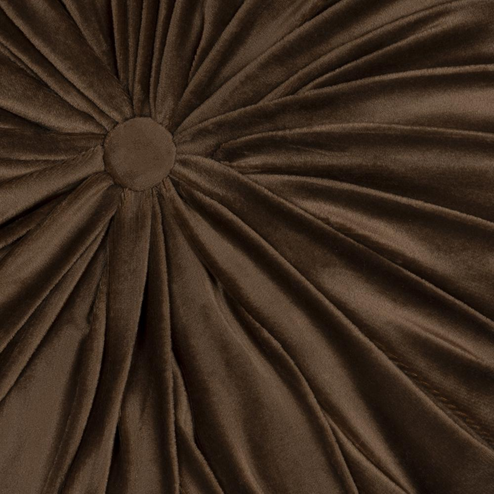 Brown Round Tufted Velvet Pillow - 380887. Picture 1