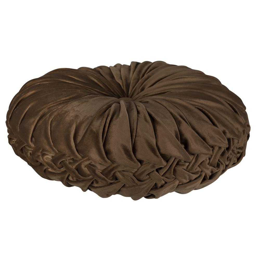 Brown Round Tufted Velvet Pillow - 380887. Picture 3