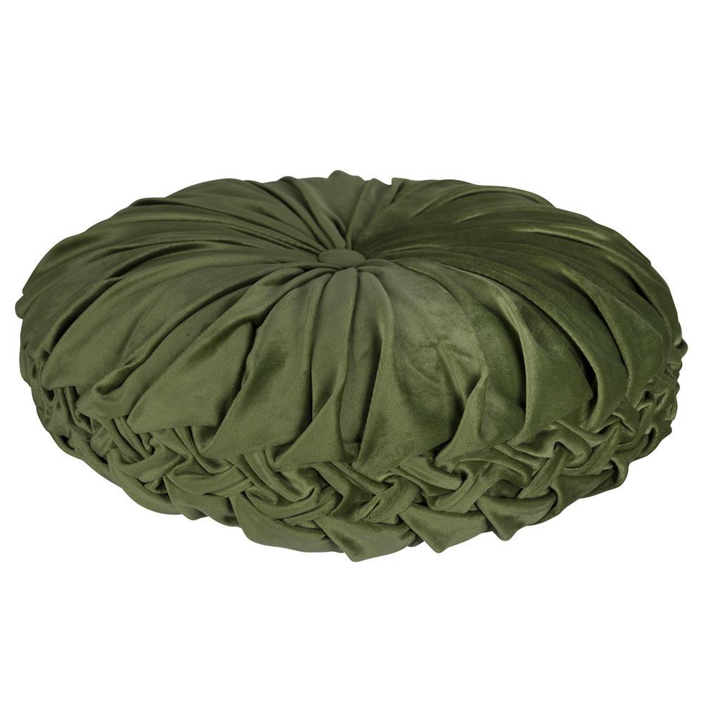 Green Round Tufted Velvet Pillow - 380888. Picture 3