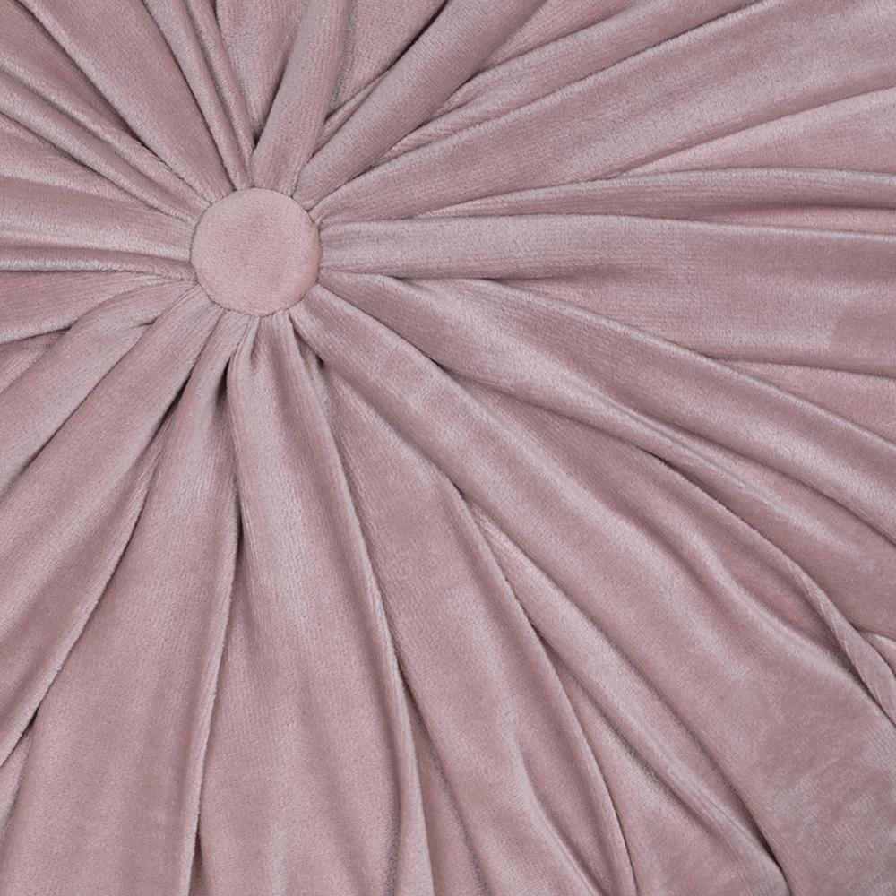Light Pink Round Tufted Velvet Pillow - 380890. Picture 2