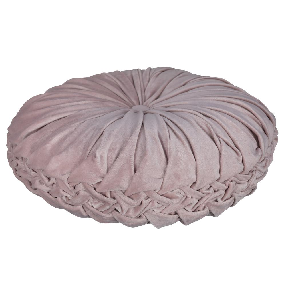 Light Pink Round Tufted Velvet Pillow - 380890. Picture 4