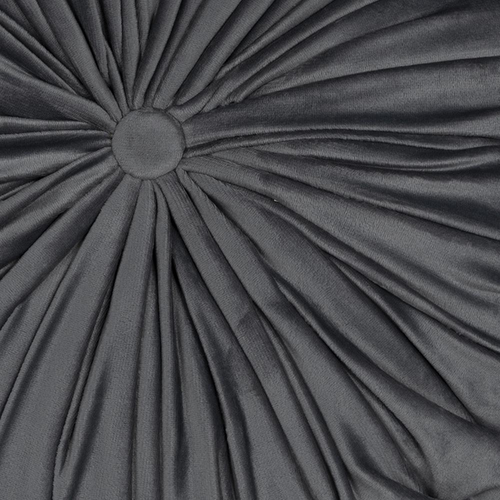 Grey Round Tufted Velvet Pillow - 380891. Picture 1