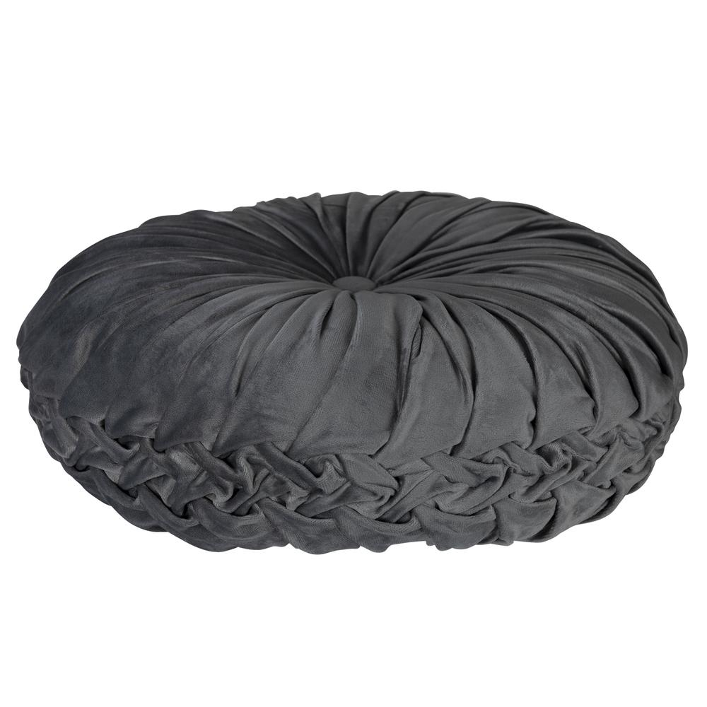 Grey Round Tufted Velvet Pillow - 380891. Picture 3