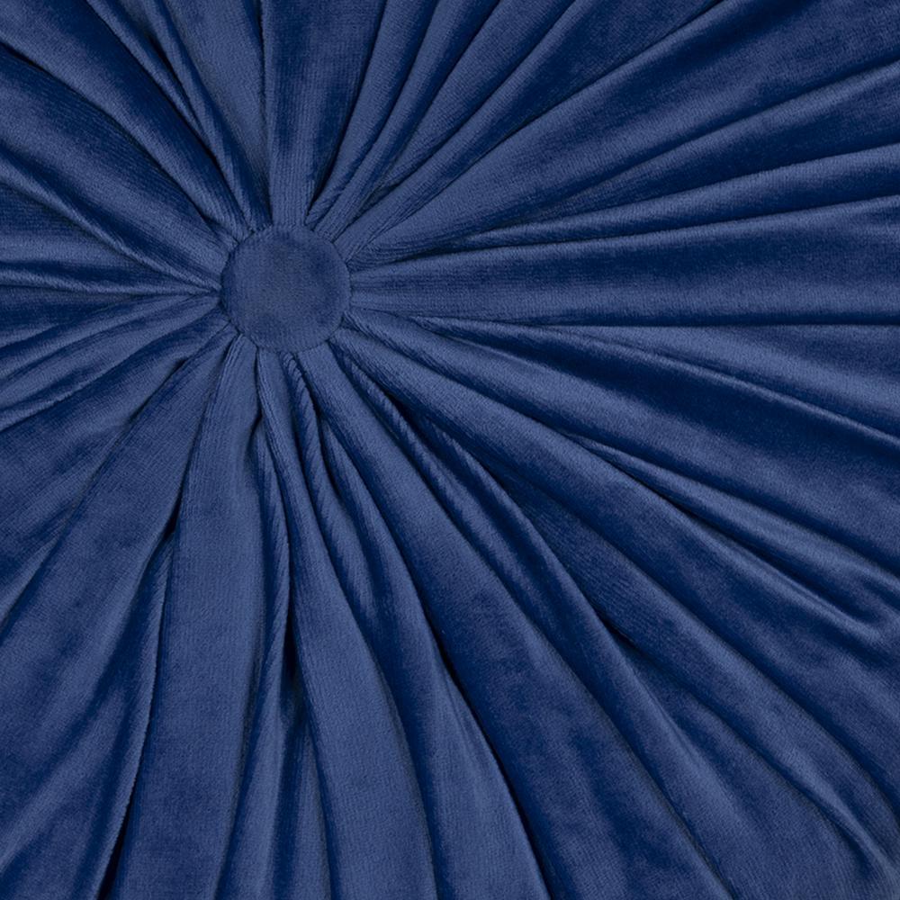 Blue Round Tufted Velvet Pillow - 380892. Picture 1