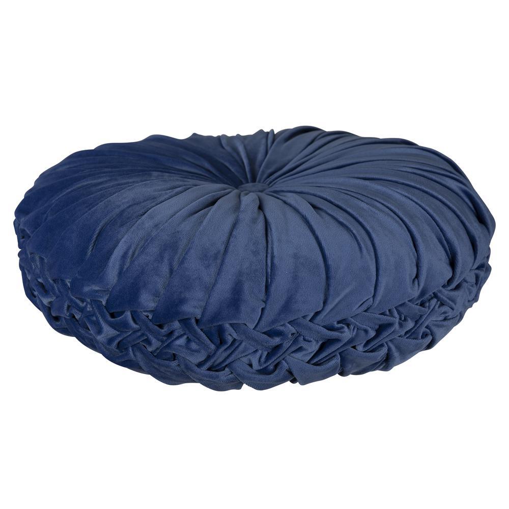Blue Round Tufted Velvet Pillow - 380892. Picture 3