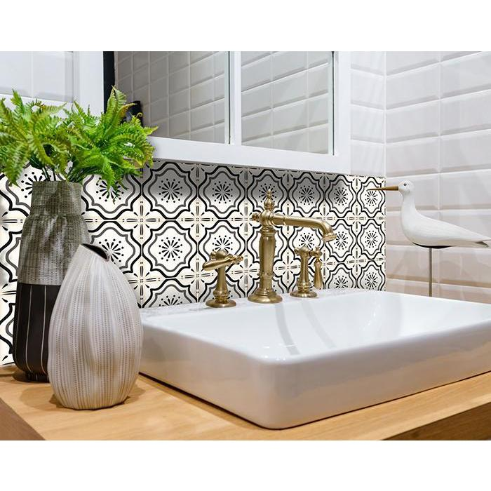 """4"""" x 4"""" Black And White Mosaic Peel and Stick Removable Tiles - 382864. Picture 2"""