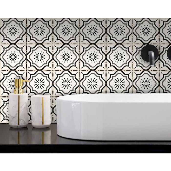 """4"""" x 4"""" Black And White Mosaic Peel and Stick Removable Tiles - 382864. Picture 4"""