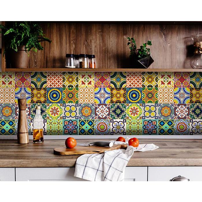 """4"""" x 4"""" Mediterranean Brights Mosaic Peel and Stick Removable Tiles - 382874. Picture 1"""