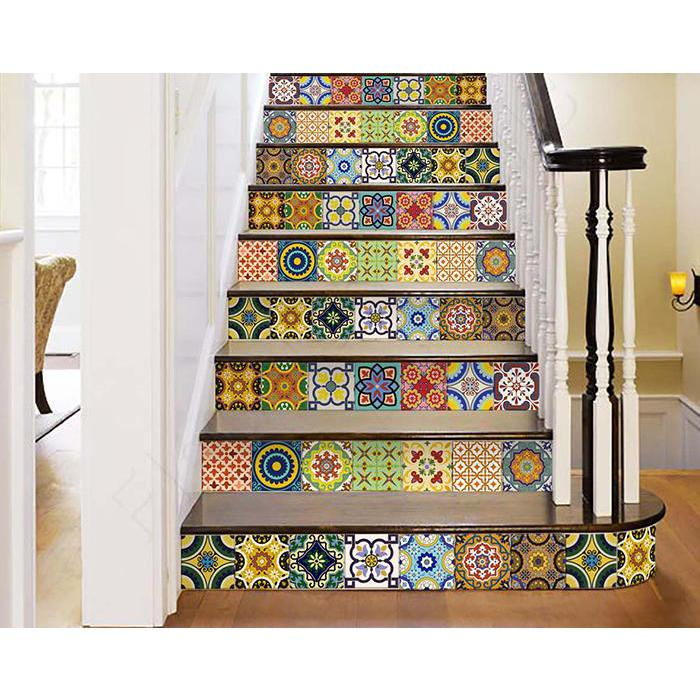 """4"""" x 4"""" Mediterranean Brights Mosaic Peel and Stick Removable Tiles - 382874. Picture 2"""
