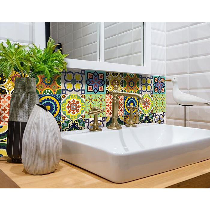 """4"""" x 4"""" Mediterranean Brights Mosaic Peel and Stick Removable Tiles - 382874. Picture 3"""
